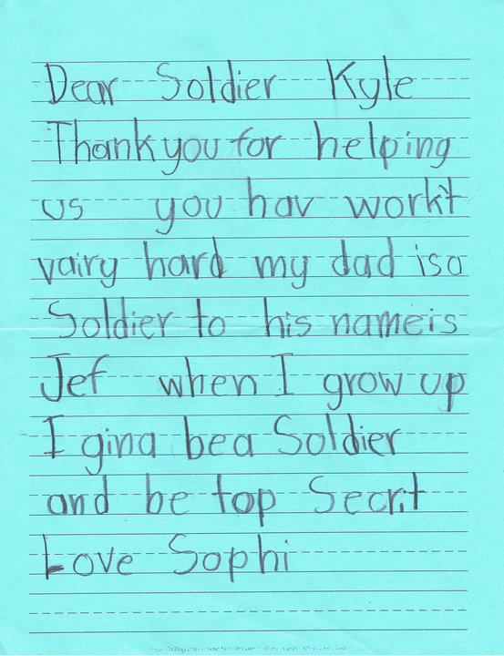 children can write a letter to a soldier or create a card to send to our military personnel